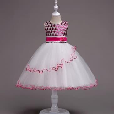 Demi Sleeveless Bling Sequin Girls Princess Wedding Dress
