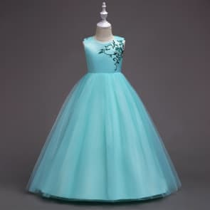 Carole Floral Embroidery Tulle Girls Princess Long Dress