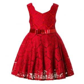Cherish V Neck Floral Crochet Girls Princess Dress