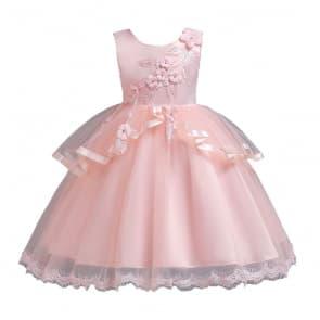 Coraline Floral Patches Girls Wedding Princess Dress