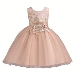 Dianne 3D Floral Embroidery Girls Wedding Princess Dress