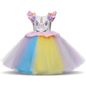 Holly Kids Unicorn Rainbow Tulle Dress