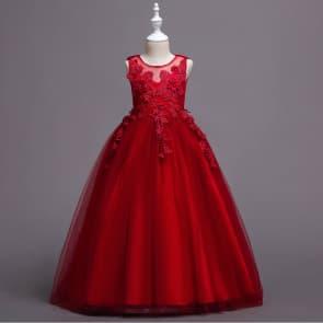 Zula Floral Crochet Sleeveless Girls Wedding Princess Dress